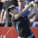 Jessica Korda drives on the 10th tee during the first round of the Meijer LPGA Classic golf tournament at Blythefield Country Club, Thursday, Aug. 7, 2014 in Belmont, Mich. (AP Photo/Carlos Osorio)