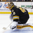 Boston Bruins goalie Tuukka Rask eyes a rebound of a shot by the Ottawa Senators during the first period of an NHL hockey game in Boston Saturday, Dec. 13, 2014 The Associated Press