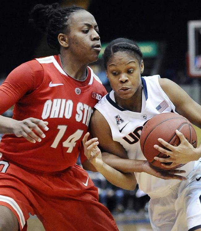 Connecticut's Moriah Jefferson, right, drives to the basket while guarded by Ohio State's Ameryst Alston, left, during the second half of an NCAA college basketball game Sunday, Dec. 1, 2013, in Springfield, Mass. Connecticut won 70-49