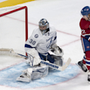 Montreal Canadiens' Dale Weise scores past Tampa Bay Lightning goalie Ben Bishop during the first period of an NHL hockey game Tuesday, Jan. 6, 2015, in Montreal The Associated Press
