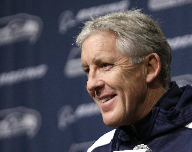 Seattle Seahawks head coach Pete Carroll smiles during an NFL football news conference, Tuesday, Jan. 7, 2014, in Kirkland, Wash. The Seahawks play the New Orleans Saints Saturday in an NFC divisional playoff game