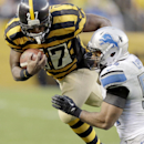 Pittsburgh Steelers running back Jonathan Dwyer (27) tries to get by Detroit Lions outside linebacker DeAndre Levy (54) in the second half of of an NFL football game in Pittsburgh, Sunday, Nov. 17, 2013 The Associated Press