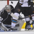 Los Angeles Kings goalie Jonathan Quick (32) looks for the rebound as he blocks  a shot against the San Jose Sharks in the se
