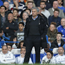 Chelsea manager Jose Mourinho watches the English Premier League soccer match against Sunderland at the Stamford Bridge ground in London, Saturday, April 19, 2014. Sunderland won the match 2-1