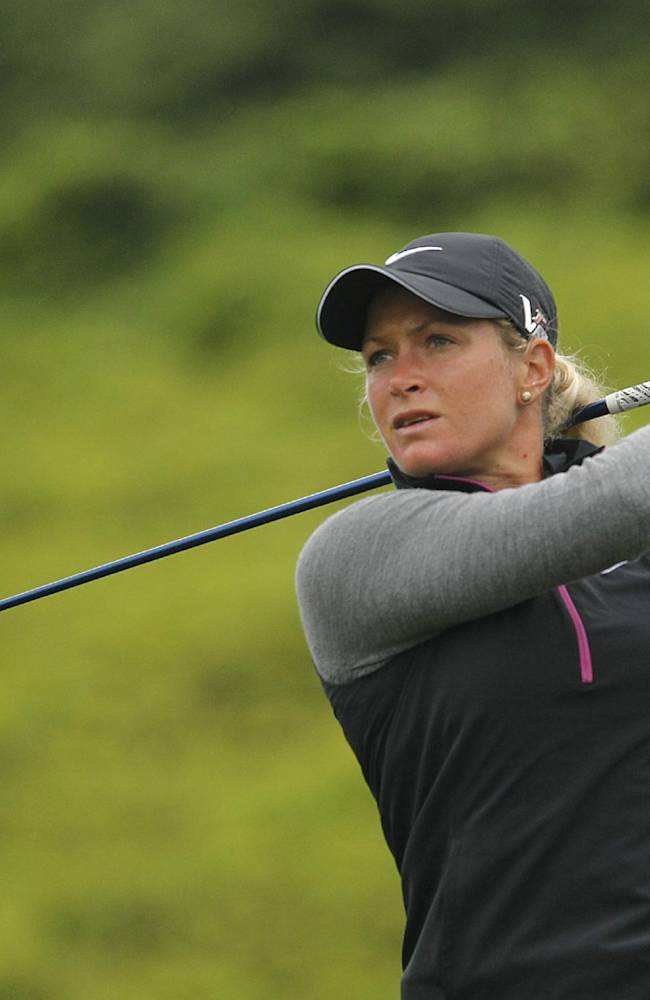 Suzann Pettersen of Norway, tees off on the 13th hole during the first day of the Sunrise LPGA Taiwan Championship tournament at the Sunrise Golf & Country Club, Thursday, Oct. 24, 2013, in Yangmei, northeastern Taiwan. Pettersen finished in first position after carding a 68 with four strokes under par