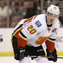 Calgary Flames left wing Curtis Glencross (20) is shown during the first period of an NHL hockey game against the Florida Panthers, Saturday, Nov. 8, 2014 in Sunrise, Fla. (AP Photo/Wilfredo Lee)
