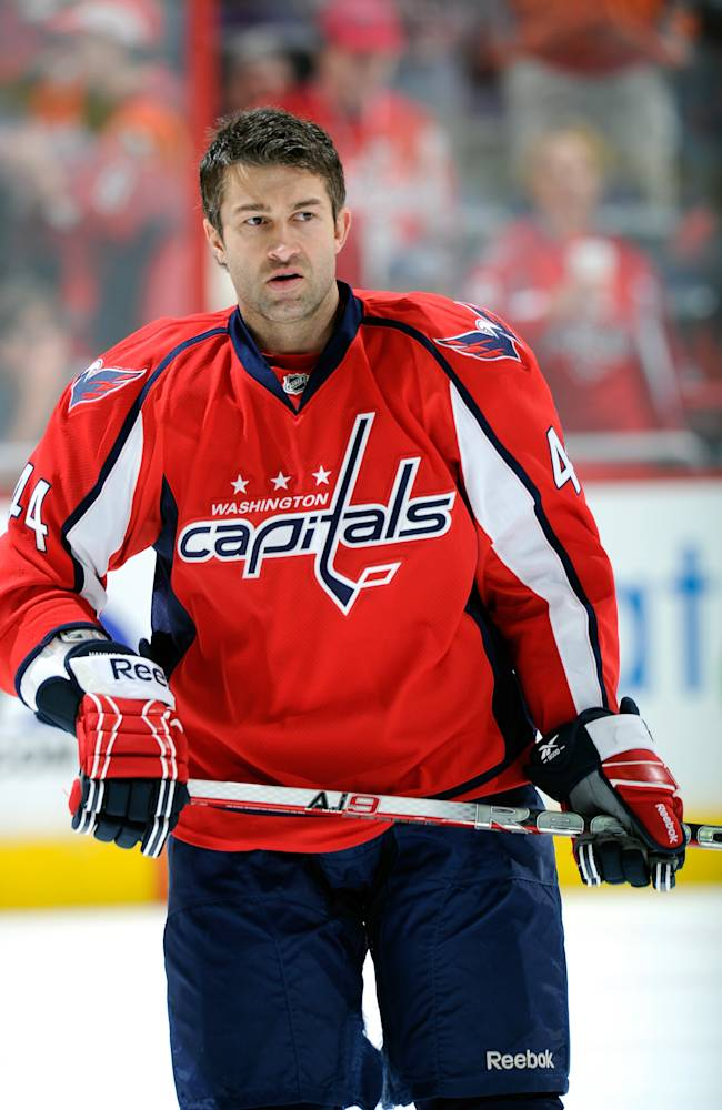 Roman Hamrlik #44 of the Washington Capitals warms up before the game against the Phoenix Coyotes at the Verizon Center on November 21, 2011 in Washington, DC. (Photo by G Fiume/Getty Images)