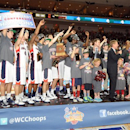 In this photo provided by the Las Vegas News Bureau, Gonzaga's Bulldogs capture the WCC tournament trophy over St. Mary's Gaels in the final game 65-51 in Las Vegas. Monday, March 11, 2013. (AP Photo/Las Vegas News Bureau, Glenn Pinkerton)