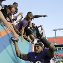 Baltimore Ravens wide receiver Steve Smith (89) shakes hands with the fans after an NFL football game against the Miami Dolphins, Sunday, Dec. 7, 2014, in Miami Gardens, Fla. The Ravens defeated the Dolphins 28-13 The Associated Press