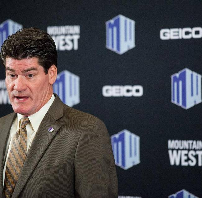Mountain West Commissioner Craig Thompson speaks during the Mountain West Conference football media day at the Cosmopolitan hotel-casino Tuesday, July 22, 2014, in Las Vegas