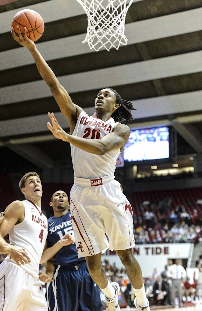 Alabama Guard Levi Randolph (20) gets inside against Xavier in their NCAA college basketball game at Coleman Coliseum, Saturday, Dec. 21, 2013, in Tuscaloosa, Ala