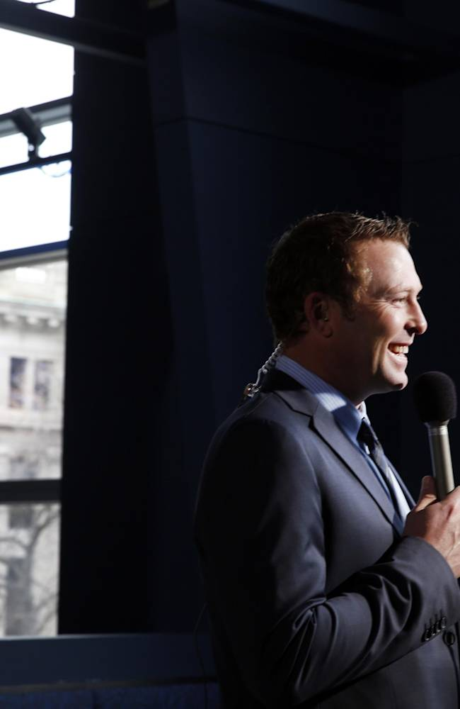 St. Louis Blues' Martin Brodeur is interviewed after announcing his retirement from NHL hockey, Thursday, Jan. 29, 2015, in St. Louis. Brodeur finished his career with St. Louis after 21 seasons as goaltender with New Jersey. He will remain with the Blues as a senior adviser to general manager Doug Armstrong