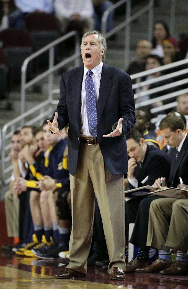 California head coach Mike Montgomery yells during the second half of an NCAA college basketball game against Southern California on Wednesday, Jan. 22, 2014, in Los Angeles. USC won 77-69