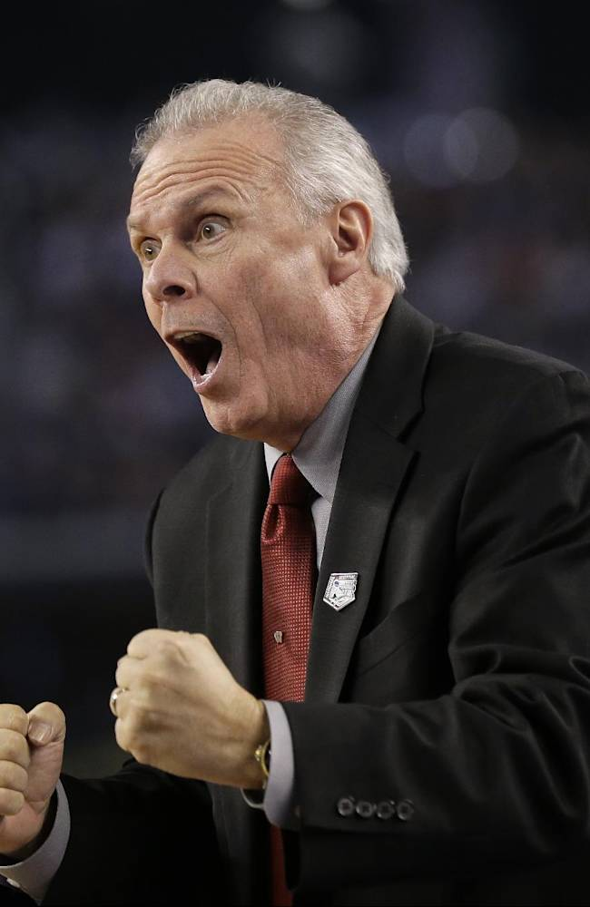Wisconsin head coach Bo Ryan reacts during the first half of the NCAA Final Four tournament college basketball semifinal game against Kentucky Saturday, April 5, 2014, in Arlington, Texas