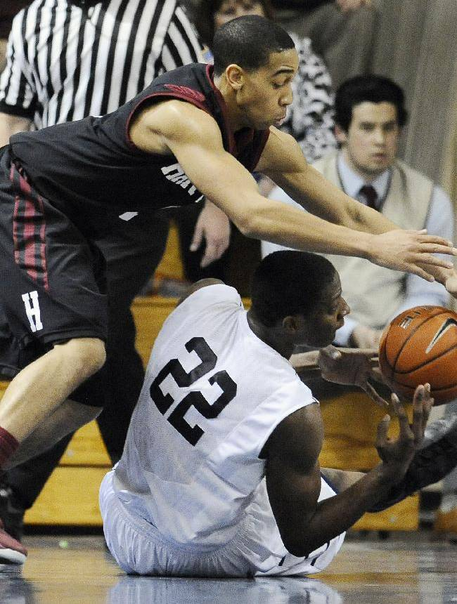 Harvard's Siyani Chambers, left, pressures Yale's Justin Sears, right, during the second half of an NCAA college basketball game, Friday, March 7, 2014, in New Haven, Conn. Harvard won 70-58