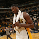 INDIANAPOLIS, IN - JUNE 1: Roy Hibbert #55 of the Indiana Pacers walks off the court after the Win against the Miami Heat in Game Six of the Eastern Conference Finals during the 2013 NBA Playoffs on June 1, 2013 at Bankers Life Fieldhouse in Indianapolis, Indiana. (Photo by Ron Hoskins/NBAE via Getty Images)