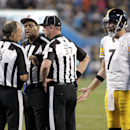 Pittsburgh Steelers quarterback Ben Roethlisberger (7) argues a call with officials during the first half of an NFL football game against the Carolina Panthers in Charlotte, N.C., Sunday, Sept. 21, 2014 The Associated Press