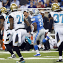 Detroit Lions running back Reggie Bush (21) runs for a 86-yard touchdown against the Jacksonville Jaguars in the first half of a preseason NFL football game at Ford Field in Detroit, Friday, Aug. 22, 2014 The Associated Press