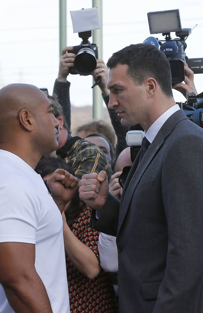 Wladimir Klitschko, right, and Alex Leapai do the staring down after a press conference ahead of the IBF, IBO, WBO and WBA heavyweight  title bout on April 26,2014 between Wladimir Klitschko of Ukraine and Alex Leapai of Australia in Oberhausen, Germany, Tuesday, Feb. 11, 2014