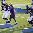 Minnesota Vikings running backs Adrian Peterson, left, and Matt Asiata, right, participate in a drill during an NFL football training camp practice, Monday, July 28, 2014, in Mankato, Minn The Associated Press