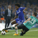 Chelsea's Willian, left, is challenged by Schalke's Christian Fuchs during the Champions League group G soccer match between Chelsea and Schalke 04 at Stamford Bridge stadium in London, Wednesday, Sept. 17, 2014