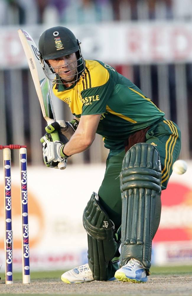 South Africa's AB de Villiers hits a six on his way to score a century during the fifth cricket one-day international match of a five match series between Pakistan and South Africa at Sharjah Cricket Stadium, in Sharjah , United Arab Emirates, Monday, Nov. 11, 2013