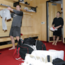 New Jersey Devils NHL hockey goaltender Martin Brodeur, left, cleans out his locker as Stephen Gionta stands near Monday, April 14, 2014, in Newark, N.J The Associated Press
