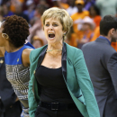 Baylor head coach Kim Mulkey shouts during the second half of a regional semifinal game against Louisville in the women's NCAA college basketball tournament in Oklahoma City, Sunday, March 31, 2013. Louisville won 82-81. (AP Photo/Sue Ogrocki)