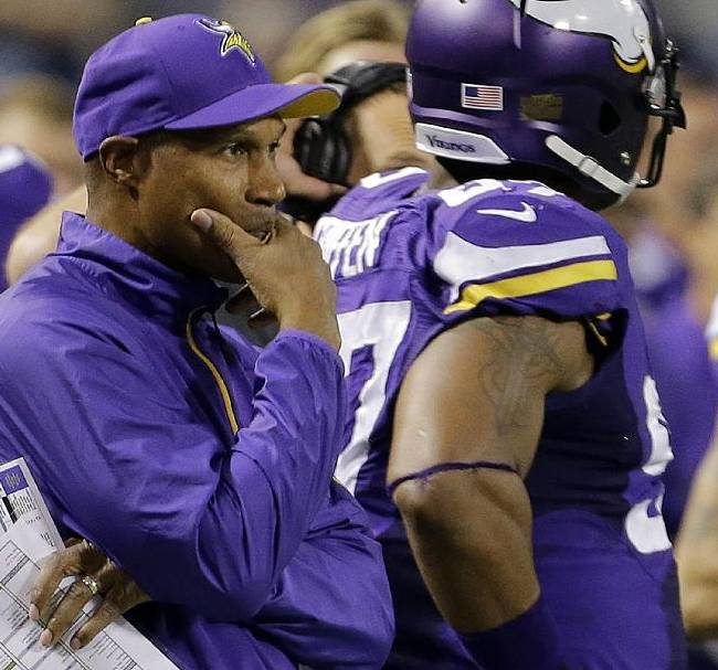 Minnesota Vikings head coach Leslie Frazier watches from the sideline in the first half of an NFL football game against the Green Bay Packers, Sunday, Oct. 27, 2013, in Minneapolis