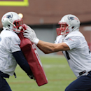 New England Patriots tight end Rob Gronkowski, right, pushes teammate Tim Wright during an NFL football practice in Foxborough, Mass., Wednesday, Dec. 17, 2014 The Associated Press