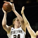 Fordham's Samantha Clark (24) shoots the ball during the first half of their NCAA college basketball championship game against Saint Joseph's at the Atlantic 10 Conference tournament, Saturday, March 16, 2013, in New York. (AP Photo/John Minchillo)