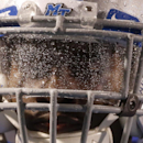 The visor of Middle Tennessee linebacker James Roberson is covered with water during the second quarter of a rainy NCAA college football game between Middle Tennessee and Savannah State on Saturday, Aug. 30, 2014, in Murfreesboro, Tenn The Associated Pres