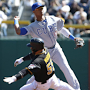Chicago Cubs' Starlin Castro (13) throws to first to complete a double play on Pittsburgh Pirates' Neil Walker as Russell Martin (55) slides into second during their opening day baseball game on Monday, March 31, 2014, in Pittsburgh The Associated Press