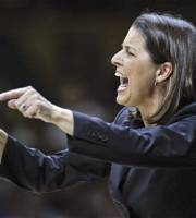 Duke head coach Joanne McCallie yells to her players in the first half of a second-round NCAA women's college basketball tournament game against  Vanderbilt on Tuesday, March 20, 2012, in Nashville, Tenn. (AP Photo/Mark Humphrey)