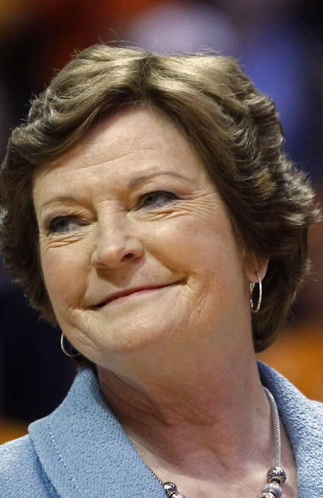 In this Jan. 28, 2013, file photo, Tennessee head coach emeritus Pat Summitt smiles as a banner is raised in her honor before an NCAA college basketball game against Notre Dame in Knoxville, Tenn. Summitt will continue in her role as the Tennessee head coach emeritus on Lady Vols coach Holly Warlick's staff next season. The university announced Wednesday, May 1, 2013, that Summitt had agreed to a one-year contract that will pay her $85,000, less than a quarter of the $354,375 she received for the same role last year