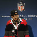 San Francisco 49ers quarterback Colin Kaepernick speaks during a news conference after the NFL football NFC Championship game against the Seattle Seahawks, Sunday, Jan. 19, 2014, in Seattle. The Seahawks won 23-17 to advance to Super Bowl XLVIII The Assoc