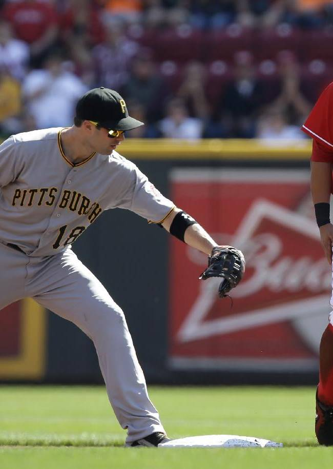 Cincinnati Reds' Shin-Soo Choo (17) , of South Korea, walks away after being forced out by Pittsburgh Pirates second baseman Neil Walker (18) in a close play at second base in the first inning of a baseball game, Saturday, Sept. 28, 2013, in Cincinnati