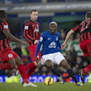 Everton's Arouna Kone, center right, attempts to take the ball past the Queens Park Rangers players including Richard Dunne, right, during the English Premier League soccer match between Everton and Queens Park Rangers at Goodison Park Stadium, Liverpool,