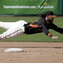 San Francisco Giants shortstop Brandon Crawford makes a diving catch on a ball hit by Colorado Rockies' Michael McKenry during the fifth inning of an exhibition baseball game in Scottsdale, Ariz., Wednesday, March 26, 2014 The Associated Press