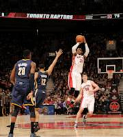 TORONTO, CANADA - April 4: Terrence Ross #31 of the Toronto Raptors shoots against the Indiana Pacers on April 4, 2014 at the Air Canada Centre in Toronto, Ontario, Canada. (Photo by Ron Turenne/NBAE via Getty Images)