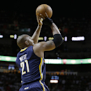 Indiana Pacers' David West shoots during the first half of an NBA basketball game against the Miami Heat, Friday, April 11, 2014, in Miami The Associated Press