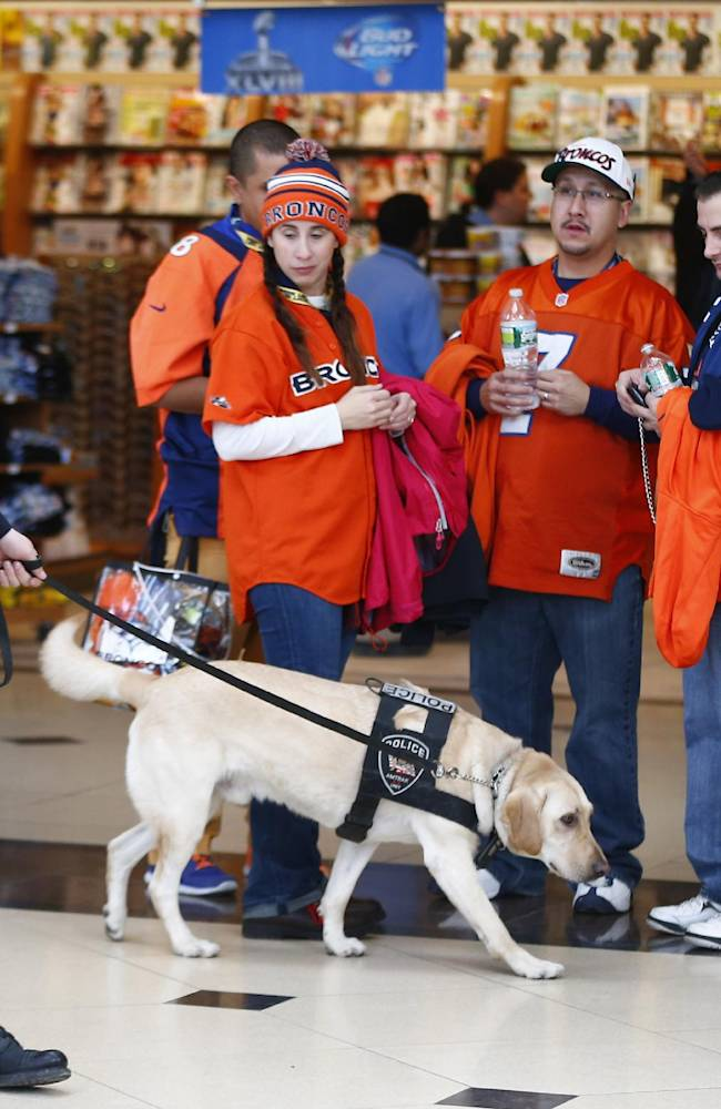 A police officer and his dog walk past football fans at the Secaucus Junction, Sunday, Feb. 2, 2014, in Secaucus, N.J. The Seattle Seahawks are scheduled to play the Denver Broncos in the NFL Super Bowl XLVIII football game on Sunday, earning MetLife Stadium in East Rutherford, N.J