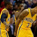 WASHINGTON, DC - MARCH 25: George Hill #3 of the Indiana Pacers reacts after defeating the Washington Wizards at Verizon Center on March 25, 2015 in Washington, DC. The Indiana Pacers won, 103-101. NOTE TO USER: User expressly acknowledges and agrees that, by downloading and or using this photograph, User is consenting to the terms and conditions of the Getty Images License Agreement. (Photo by Patrick Smith/Getty Images)