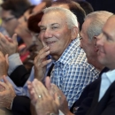 Dale Jarrett reacts after being named to the next class of inductees during an announcement at the NASCAR Hall of Fame in Charlotte, N.C., Wednesday, May 22, 2013. (AP Photo/Chuck Burton)