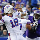Buffalo Bills quarterback Kyle Orton (18) throws a touchdown pass to Sammy Watkins during the first half of an NFL football game against the Minnesota Vikings, Sunday, Oct. 19, 2014, in Orchard Park, N.Y The Associated Press