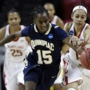 Quinnipiac guard Felicia Barron (15) and Maryland guard Chloe Pavlech chase after a loose ball during the first half of a first-round game in the women's NCAA college basketball tournament in College Park, Md., Saturday, March 23, 2013. (AP Photo/Patrick Semansky)