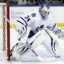 Toronto Maple Leafs goalie James Reimer (34) during the second period of an NHL hockey game against the Tampa Bay Lightning Tuesday, April 8, 2014, in Tampa, Fla. (AP Photo/Chris O'Meara)