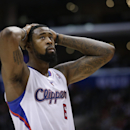Los Angeles Clippers' DeAndre Jordan reacts to a foul call on his team during the second half of an NBA basketball game against the Dallas Mavericks on Thursday, April 3, 2014, in Los Angeles. The Mavericks won 113-107 The Associated Press