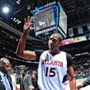 ATLANTA, GA - JANUARY 28: Al Horford #15 of the Atlanta Hawks acknowledges the crowd after the game against the Brooklyn Nets on January 28, 2015 at Philips Arena in Atlanta, Georgia. (Photo by Scott Cunningham/NBAE via Getty Images)