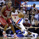 Detroit Pistons' Rodney Stuckey (3) drives to the basket as Miami Heat's Ray Allen (34) defends during the first half of an NBA basketball game, Tuesday, Dec. 3, 2013, in Miami The Associated Press
